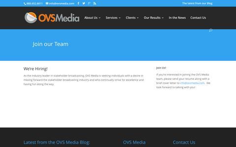 Screenshot of Jobs Page ovsmedia.com - Careers - OVS Media - captured Jan. 10, 2016