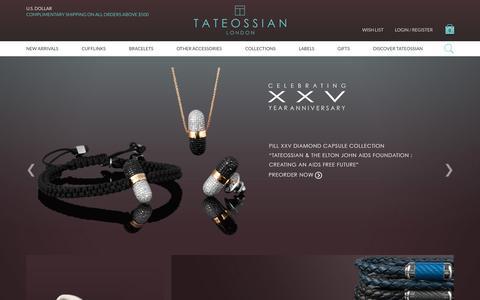 Screenshot of Home Page tateossian.com - Tateossian | Bracelets, cufflinks jewellery & accessories - for Men and Women - captured June 17, 2015