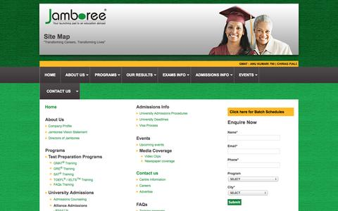 Screenshot of Site Map Page jamboreeindia.com - GRE®| GMAT™| SAT®|TOEFL® and IELTS Preparation| Coaching and Training Institute - captured Sept. 24, 2014