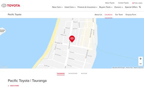 Screenshot of Locations Page toyota.co.nz - Pacific Toyota | Tauranga - Toyota NZ - captured Sept. 26, 2018