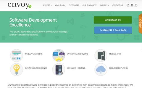 Screenshot of Home Page envoyat.com - Custom Software Development, Managed Hosting, Mobile Apps - Envoy Advanced Technologies - captured Nov. 9, 2016