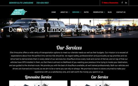 Screenshot of Services Page denver-elitelimousine.com - Denver elite limousine Car service limo service from to DIA - captured Aug. 1, 2016