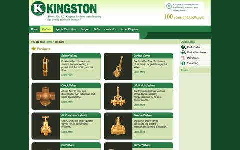 Screenshot of Products Page kingstonvalves.com - Products - captured Sept. 30, 2014