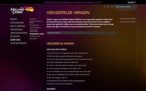 Screenshot of FAQ Page hollandcasino.nl - Veelgestelde vragen | Holland Casino - captured Oct. 30, 2014