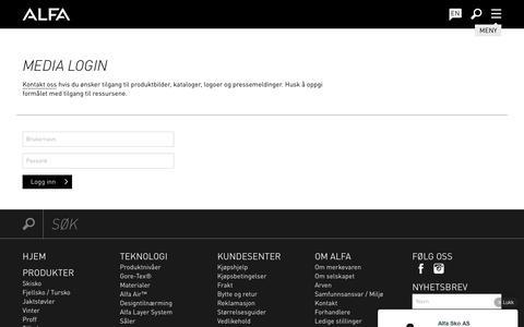 Screenshot of Press Page alfa.no - Media Login - Alfa Sko - captured Feb. 5, 2016