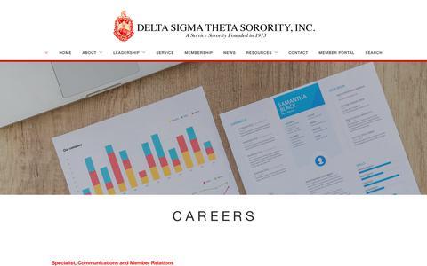 Screenshot of Jobs Page deltasigmatheta.org - Careers   Delta Sigma Theta Sorority, Inc. - captured Nov. 8, 2018