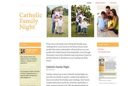 Screenshot of Home Page catholicfamilynight.com - Catholic Family Night - Home - captured Sept. 29, 2014