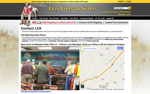 Screenshot of Contact Page Maps & Directions Page lcsupply.com - Lion Country Supply: Hunting Supplies & Shotguns in Port Matilda, PA - captured Oct. 22, 2014