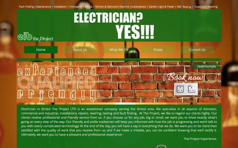 Screenshot of Home Page electricianinbristol.co.uk - Electrician In Bristol   Electrical Contractor   Local Electrician - captured Jan. 27, 2016