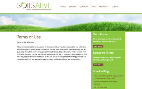 Screenshot of Terms Page soilsalive.com - Terms of Use - Soils Alive, Inc. - Organic Lawn Care - Dallas, TX - captured Oct. 7, 2014