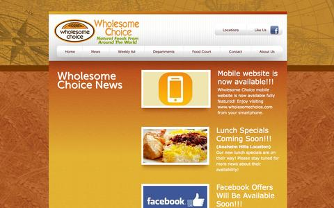 Screenshot of Press Page wholesomechoice.com - Wholesome Choice - Anaheim Hills News - captured Sept. 30, 2014
