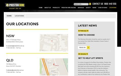 Screenshot of Locations Page prestonhire.com.au - Locations - captured Dec. 12, 2015