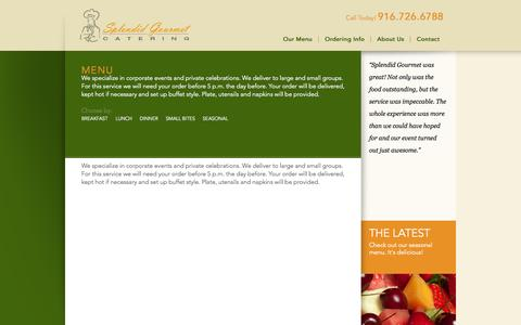Screenshot of Menu Page splendidgourmet.com - Menu | Splendid Gourmet Catering - captured Sept. 30, 2014