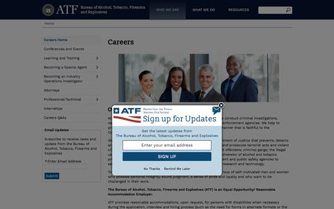 Screenshot of Jobs Page atf.gov - Careers | Bureau of Alcohol, Tobacco, Firearms and Explosives - captured July 28, 2018