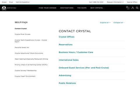 Screenshot of FAQ Page crystalcruises.com - Crystal Information | Contact Us - captured Dec. 22, 2018