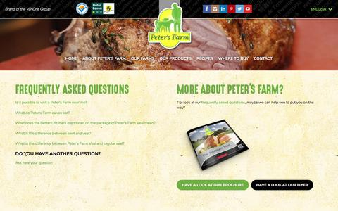 Screenshot of FAQ Page petersfarm.com - Frequently asked questions - captured May 16, 2017