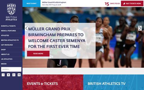 Screenshot of Home Page britishathletics.org.uk - British Athletics   Official Website - captured Aug. 3, 2018
