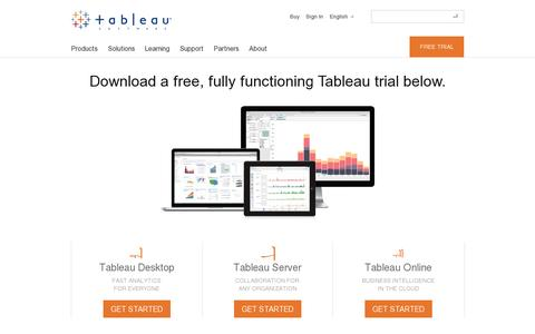 Screenshot of Trial Page tableausoftware.com - Free Trial - captured July 21, 2014