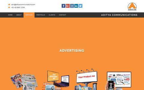 Screenshot of Services Page adityacommunications.com - Aditya Communications - captured May 29, 2017