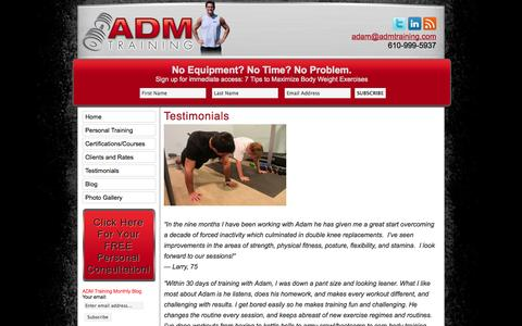 Screenshot of Testimonials Page admtraining.com - ADM TrainingTestimonials » ADM Training - captured Oct. 4, 2014