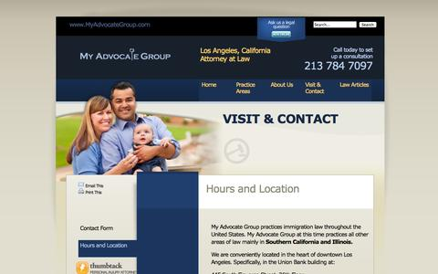 Screenshot of Maps & Directions Page Hours Page myadvocategroup.com - Hours and Location | My Advocate Group | Los Angeles Immigration Lawyer - captured Oct. 26, 2014