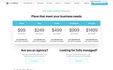 Screenshot of Pricing Page teikametrics.com - (1) New Message! - captured May 30, 2018