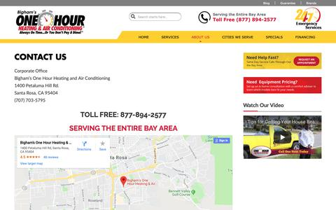 Screenshot of Contact Page onehourheatandac.com - Contact Us | Bigham's One Hour Heating & Air | North Bay, CA - captured Oct. 5, 2018