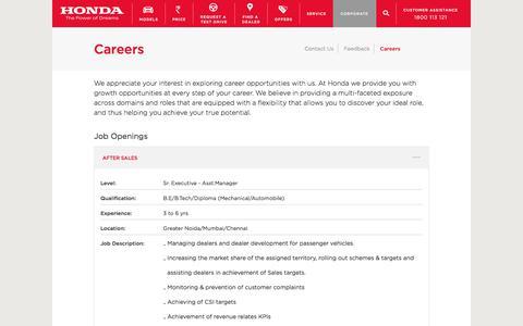 Screenshot of Jobs Page hondacarindia.com - Contact US   Honda Cars India - captured June 20, 2017