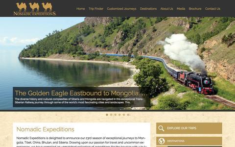 Screenshot of Home Page nomadicexpeditions.com - Tour Mongolia | Trek Bhutan | Tour Asia - captured Oct. 9, 2014