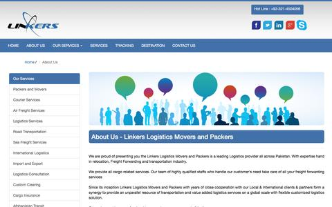 Screenshot of About Page linkerslogistics.com - Linkers - captured Jan. 30, 2016