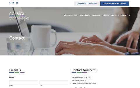 Screenshot of Contact Page corsicatech.com - Contact - Corsica Technologies - captured July 11, 2019