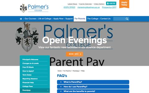 Screenshot of FAQ Page palmers.ac.uk - FAQs   Parentpay   For Parents   Palmers College - captured Oct. 19, 2016