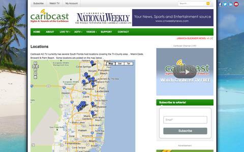 Screenshot of Locations Page caribcast.tv - Locations | Caribcast - captured Sept. 30, 2014