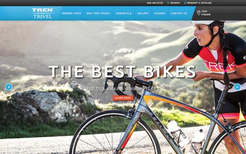 Screenshot of Home Page trektravel.com - Trek Travel Luxury Cycling Vacations of a Lifetime - captured Feb. 4, 2016