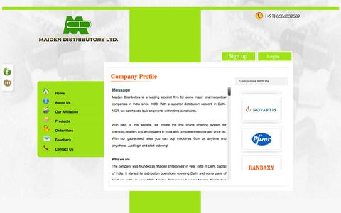 Screenshot of About Page mdl.co.in - Maiden distributors, pharmaceutical distributors delhi india, medicine wholesalers delhi india, carrying and forwarding agents delhi india - captured Feb. 4, 2016