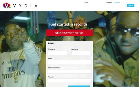 Screenshot of Login Page vydia.com - Sign Up - Vydia - captured Dec. 7, 2015