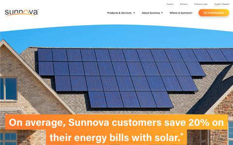 Screenshot of Home Page sunnova.com - Solar Panels + Battery Storage, 25-Year Warranty | Sunnova - captured Feb. 3, 2019