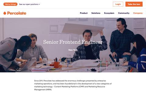 Screenshot of Jobs Page percolate.com - Senior Frontend Engineer | Careers @ Percolate - captured Feb. 11, 2019