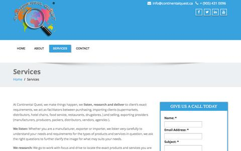 Screenshot of Services Page continentalquest.ca - Services - Continental Quest - captured Oct. 28, 2014