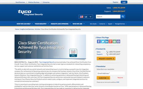 Screenshot of tycois.com - Tyco Integrated Security Achieves Silver Certification from Cisco - captured Sept. 4, 2017