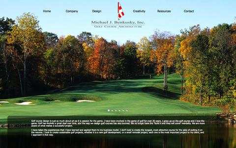 Screenshot of Home Page mjbgolfdesign.com - Michael J. Benkusky, Inc.   Golf Course Design   Home - captured Oct. 6, 2014