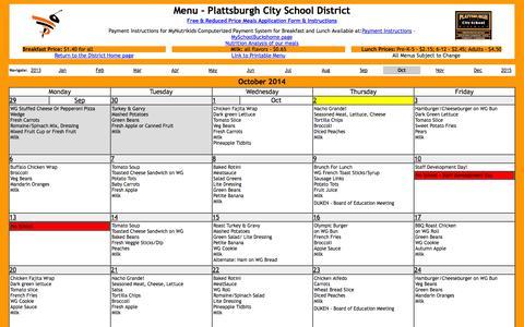 Screenshot of Menu Page plattscsd.org - menu: October 2014 - captured Oct. 2, 2014