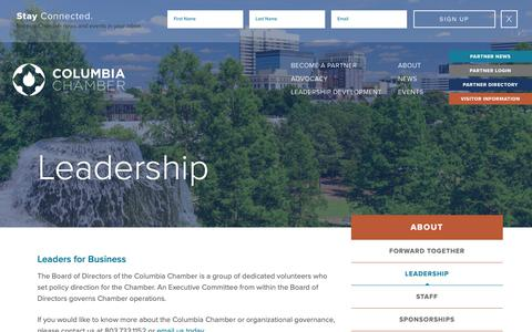 Screenshot of Team Page columbiachamber.com - Leadership - Columbia Chamber of Commerce - captured Sept. 30, 2018