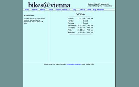 Screenshot of Hours Page bikesatvienna.com - Hours of Operation - captured Oct. 5, 2014