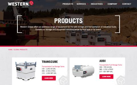 Screenshot of Products Page western-global.com - Global Products - Western Global - captured Oct. 20, 2018
