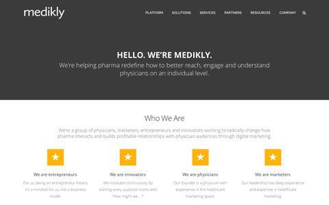 Screenshot of Contact Page medikly.com - Company - captured Oct. 28, 2014