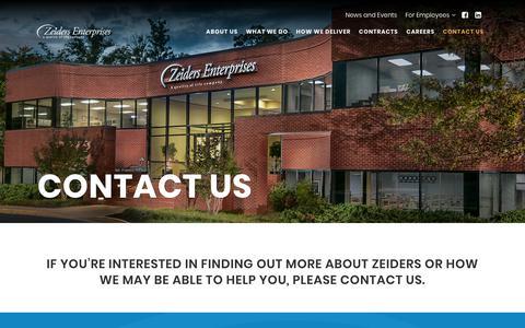 Screenshot of Contact Page zeiders.com - Contact Us | Zeiders Enterprises - captured March 2, 2019