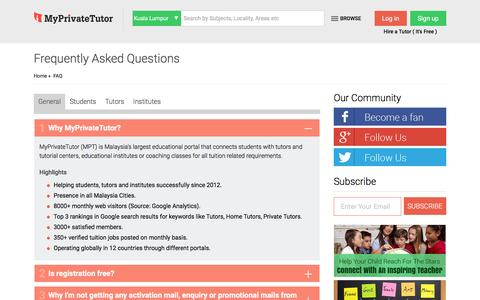 Screenshot of FAQ Page myprivatetutor.my - Frequently Asked Questions and Answers for Students, Tutors, Institutes - MyPrivateTutor: Malaysia - captured Feb. 2, 2016