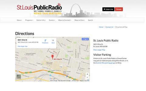 Screenshot of Maps & Directions Page stlpublicradio.org - Contact Us - captured June 13, 2016