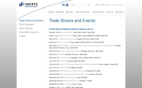 Screenshot of Press Page imerys-graphite-and-carbon.com - Trade Shows and Events | Imerys | Graphite & Carbon - captured Sept. 30, 2017